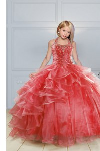 High Quality Halter Top Sleeveless Organza Kids Pageant Dress Beading and Ruffles Lace Up