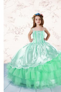 Best Ruffled Floor Length Ball Gowns Sleeveless Apple Green Little Girl Pageant Gowns Lace Up