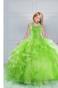 Ball Gowns Child Pageant Dress Apple Green Halter Top Organza Sleeveless Floor Length Lace Up