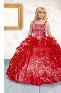 On Sale Spaghetti Straps Sleeveless Little Girls Pageant Dress Wholesale Floor Length Beading and Appliques and Pick Ups Red Satin