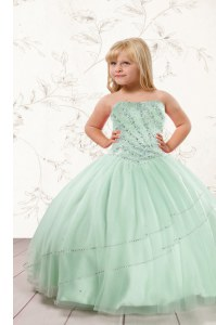 Floor Length Apple Green Little Girl Pageant Gowns Strapless Sleeveless Lace Up