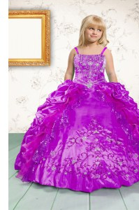 Satin Spaghetti Straps Sleeveless Lace Up Beading and Appliques and Pick Ups Little Girl Pageant Gowns in Fuchsia