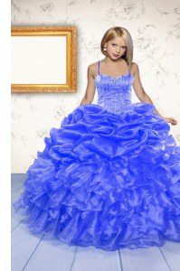 Spaghetti Straps Sleeveless Organza Little Girls Pageant Dress Beading and Ruffles and Pick Ups Lace Up