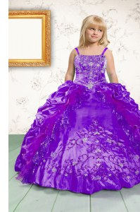 Sleeveless Satin Floor Length Lace Up Kids Pageant Dress in Purple with Beading and Appliques and Pick Ups