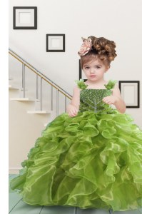 Beauteous Ball Gowns Kids Formal Wear Olive Green Straps Organza Sleeveless Floor Length Lace Up