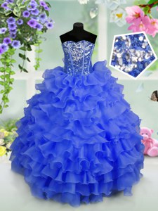 Stylish Floor Length Lace Up Little Girls Pageant Dress Royal Blue for Party and Wedding Party with Ruffled Layers and Sequins
