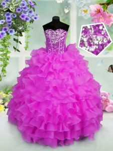 Sleeveless Organza Floor Length Lace Up Little Girl Pageant Gowns in Lilac with Ruffled Layers and Sequins