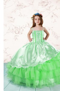 Hot Selling Ball Gowns Spaghetti Straps Sleeveless Organza Floor Length Lace Up Embroidery and Ruffled Layers Child Pageant Dress