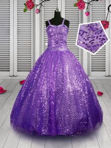 Customized Floor Length Lace Up Little Girls Pageant Gowns Lavender for Party and Wedding Party with Sequins