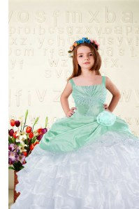 White Ball Gowns Beading and Ruffles Kids Formal Wear Lace Up Organza Sleeveless Floor Length