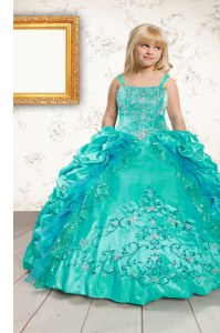 Aqua Blue Straps Lace Up Beading and Appliques and Pick Ups Little Girls Pageant Dress Wholesale Sleeveless