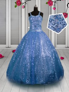 Customized Sequined Sleeveless Floor Length Little Girls Pageant Dress Wholesale and Sequins