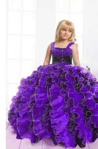 Blue And Black Organza Lace Up Little Girls Pageant Dress Sleeveless Floor Length Beading and Ruffles