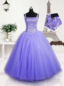 Most Popular Lavender Tulle Lace Up Straps Sleeveless Floor Length Little Girls Pageant Dress Wholesale Beading and Sequins