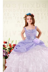Straps Sleeveless Child Pageant Dress Floor Length Beading and Ruffled Layers and Hand Made Flower Lavender Organza
