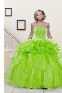 Yellow Green Lace Up Sweetheart Beading and Pick Ups Kids Pageant Dress Organza Sleeveless