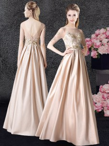 Scoop Floor Length Champagne Evening Dress Taffeta Half Sleeves Appliques
