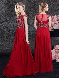Scoop Floor Length Empire Cap Sleeves Red Prom Gown Zipper
