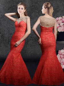 Captivating Red Mermaid Lace Bateau Cap Sleeves Beading and Lace Floor Length Zipper Homecoming Dress