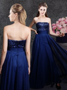 Pretty Sequins Floor Length Empire Sleeveless Navy Blue Prom Evening Gown Zipper