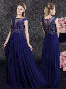 Artistic Navy Blue Scoop Side Zipper Beading and Appliques Dress for Prom Cap Sleeves
