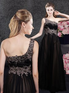 Floor Length Black Prom Dress One Shoulder Sleeveless Side Zipper
