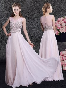Glittering Scoop Floor Length Zipper Prom Party Dress Pink for Prom and Party and Military Ball and Wedding Party with Beading