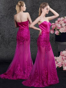 Amazing Mermaid Fuchsia Sweetheart Neckline Lace and Appliques Sleeveless Zipper