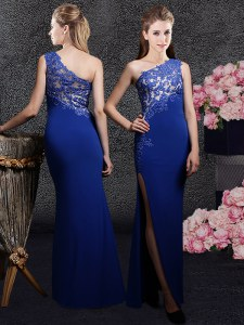 Glamorous Royal Blue One Shoulder Neckline Lace and Appliques Dress for Prom Sleeveless Side Zipper