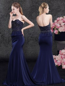 Fancy Mermaid Sleeveless Satin With Brush Train Zipper Prom Evening Gown in Navy Blue with Beading