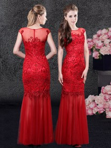 Fancy Mermaid Red Scoop Neckline Lace Evening Dress Cap Sleeves Zipper