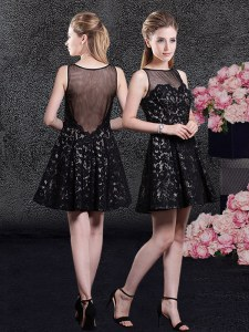 Perfect Black Side Zipper Bateau Lace Club Wear Lace Sleeveless