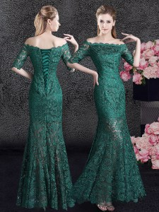 Excellent Mermaid Scalloped Dark Green Half Sleeves Floor Length Lace Lace Up Prom Party Dress