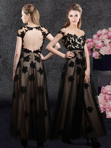 Black Backless Prom Gown Appliques Short Sleeves Ankle Length