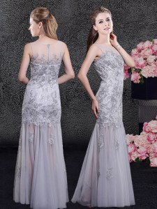 Grey Scoop Zipper Lace and Appliques Evening Dress Sleeveless