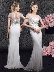 Perfect Scoop Appliques and Sequins Prom Dress White Zipper Short Sleeves With Brush Train