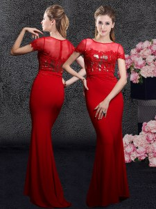 Affordable Red Scoop Zipper Appliques and Sequins Evening Dress Brush Train Short Sleeves