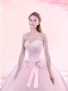Pretty With Train A-line Sleeveless Baby Pink Vestidos de Quinceanera Brush Train Lace Up