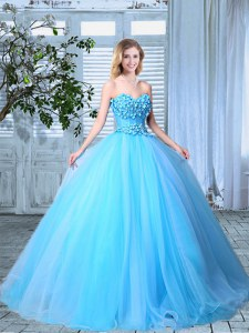 Customized Baby Blue Sweet 16 Dresses Prom and For with Appliques Sweetheart Sleeveless Lace Up