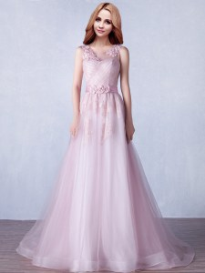 Pink A-line Scoop Sleeveless Tulle With Brush Train Zipper Appliques and Hand Made Flower Prom Party Dress