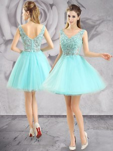 Aqua Blue A-line Tulle V-neck Sleeveless Appliques Mini Length Zipper Cocktail Dresses