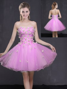 Best Selling Lilac Cocktail Dresses Prom and Party and For with Appliques Sweetheart Sleeveless Lace Up