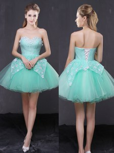 Apple Green A-line Sweetheart Sleeveless Organza Mini Length Lace Up Lace and Appliques Cocktail Dress