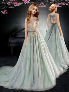 Inexpensive Scoop Apple Green A-line Appliques and Bowknot Evening Dress Backless Tulle Sleeveless With Train