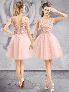 On Sale Sleeveless Mini Length Appliques Zipper Prom Dress with Baby Pink