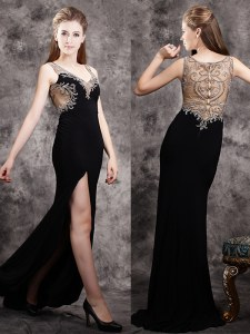 Black Zipper V-neck Appliques Prom Dresses Chiffon Sleeveless Brush Train