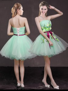 Flirting Apple Green A-line Organza Strapless Sleeveless Appliques and Belt Mini Length Lace Up Dress for Prom