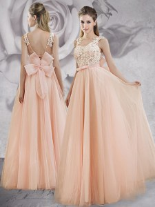 Sweet Peach Straps Neckline Appliques and Bowknot Dress for Prom Sleeveless Lace Up