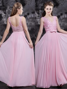 Appliques and Bowknot Prom Dresses Baby Pink Side Zipper Sleeveless Floor Length