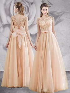 Affordable Champagne Bateau Lace Up Appliques and Bowknot Sleeveless